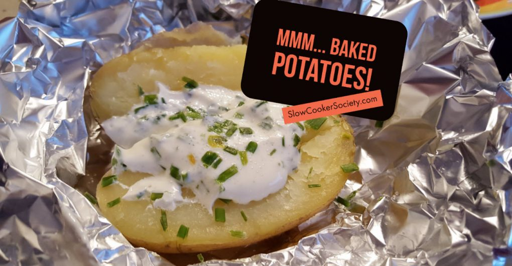Slow Cooker Baked Potatoes - a Perfect Side Dish For Your BBQ as seen on SlowCookerSociety.com
