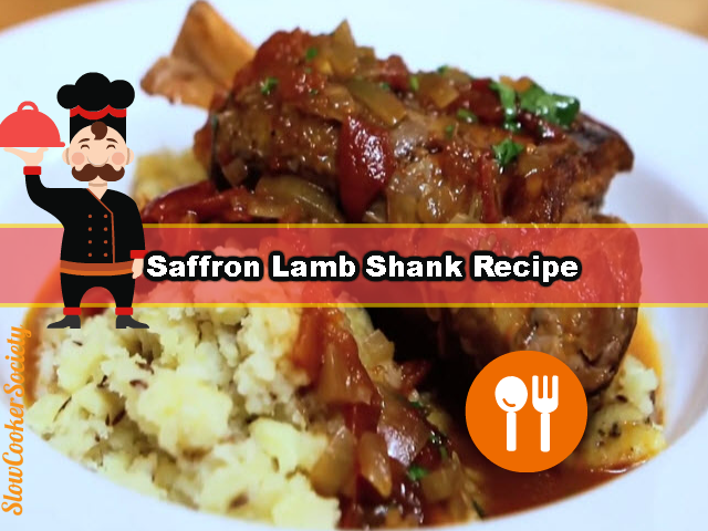 Incredibly Tender Slow Cooker Saffron Lamb Shank Recipe. It Isn't a Recipe You're Doing Every Day. I Promise it is Mouth Watering! As seen on SlowCookerSociety.com