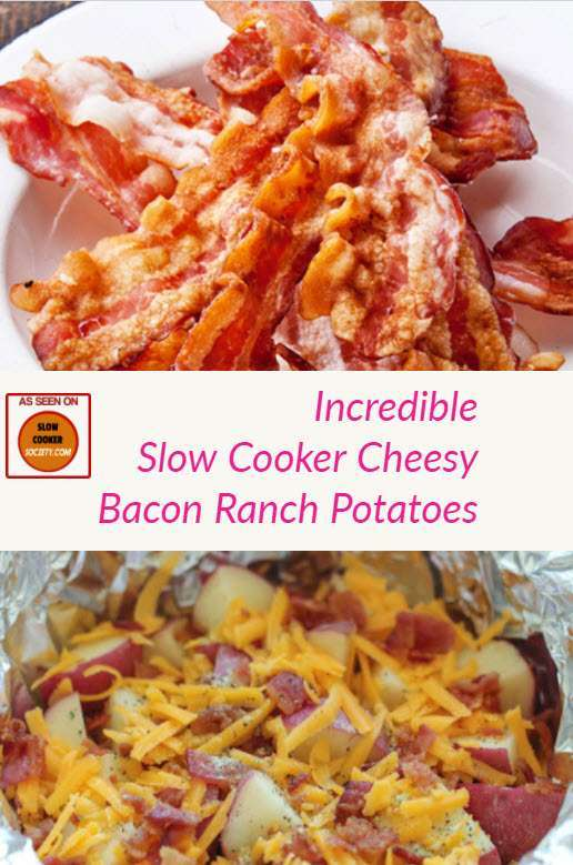 Delicious Slow Cooker Cheesy Bacon Ranch Potatoes as seen on SlowCookerSociety.com