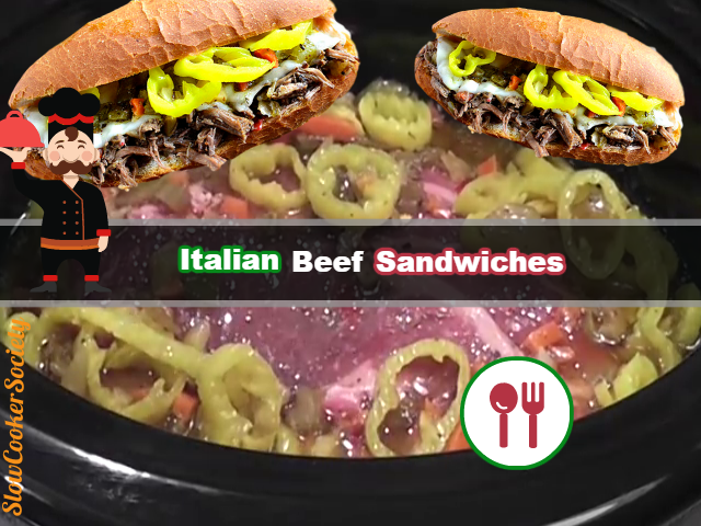 Slow Cooker Italian Beef Sandwiches with Pepperoncinis SlowCookerSociety Yummy
