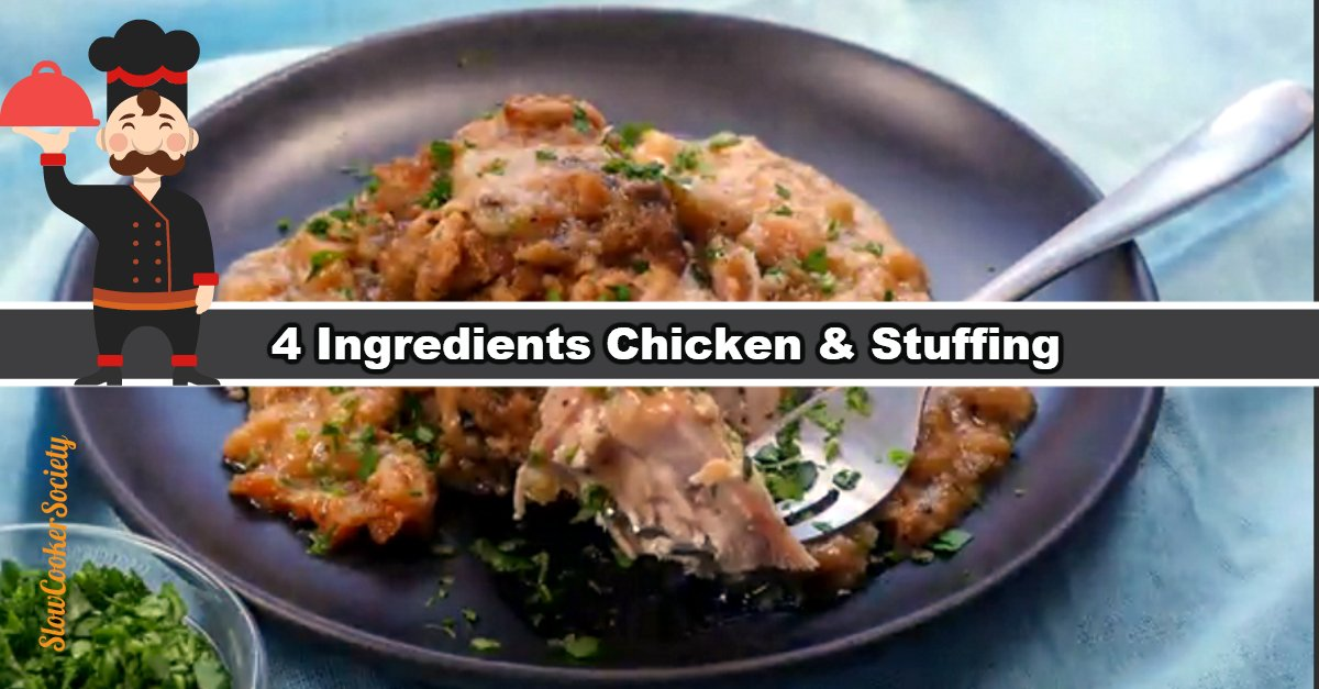 Delicious 4 Ingredients Crock Pot Chicken Recipe. This super easy and flavorful chicken only requires four ingredients, few minutes of preparation and 4 hours in the slow cooker... If you're looking for the easiest recipes, you're on the right place! As seen on SlowCookerSociety.com