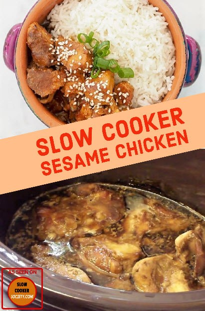 Slow Cooker Sesame Chicken so delicious as seen on SlowCookerSociety.com