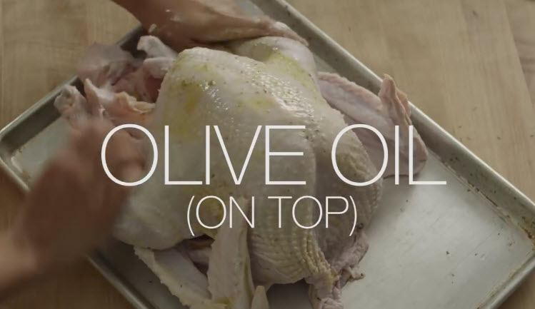 Slow Cooker Thanksgiving Turkey recipe rub with olive oil on the top