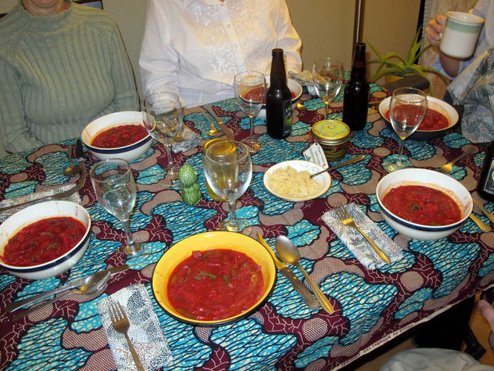 """In Poland we eat borscht, which is beetroot soup, with dumplings.""Submitted by k3007xx"