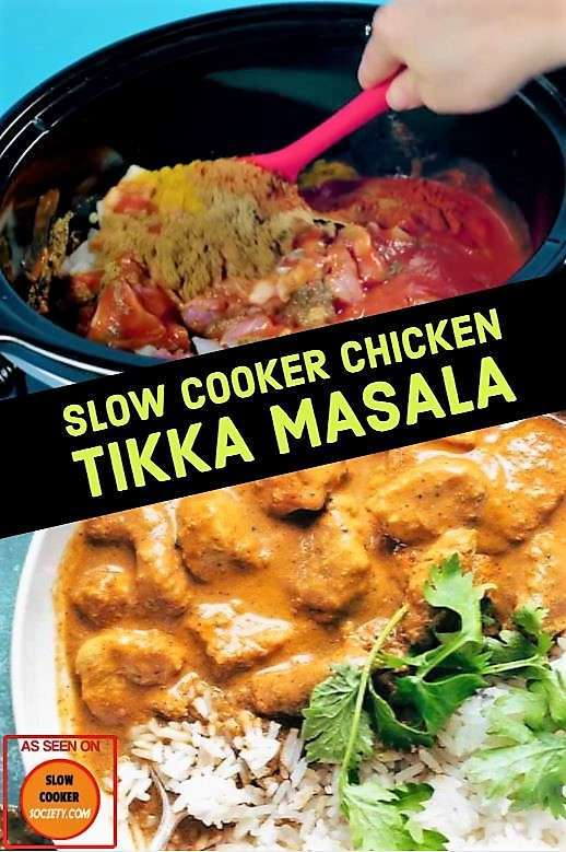 Delicious Slow Cooker Chicken Tikka Masala recipe delicious as seen on slowcookersociety.com