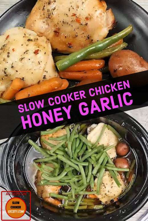 Slow Cooker Honey Garlic Chicken Thighs Recipe. Put Chicken in a Crock Pot, and What is On the Top Makes it an Irresistible Meal! Simple, easy and so delicious... as seen on SlowCookerSociety.com
