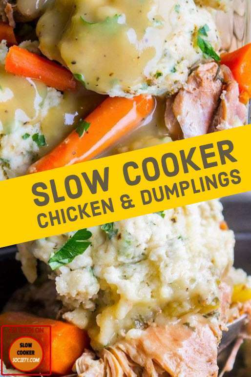 Slow Cooker Chicken Dumplings as seen on SlowCookerSociety So Yummy