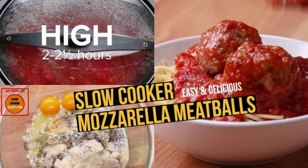 Easy Slow Cooker Beef Mozzarella Meatballs