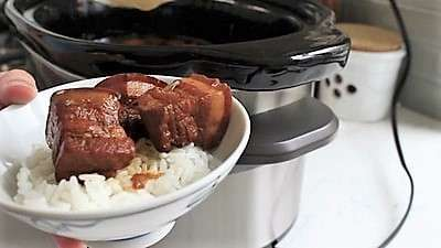 Slow Cooker Braised Pork Belly and Egg as seen on SlowCookerSociety1