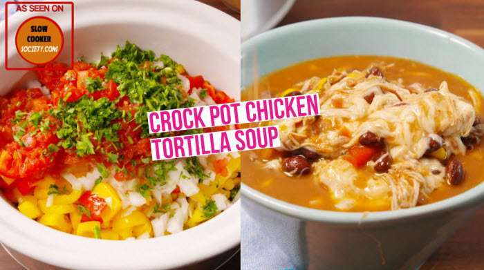 Slow Cooker Chicken Tortilla Soup as seen on SlowCookerSociety Yummy