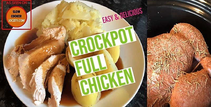 Slow Cooker Whole Roast chicken as seen on SlowCookerSociety So Yummy2