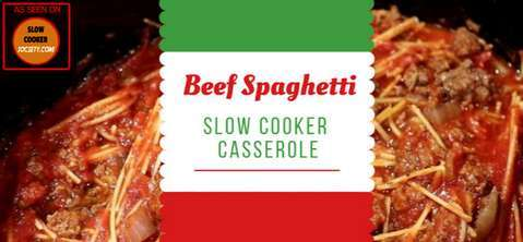 Slow Cooker Beef Spaghetti Casserole as seen on SlowCookerSociety
